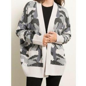 Sweaters - Hem and thread camo cardigan